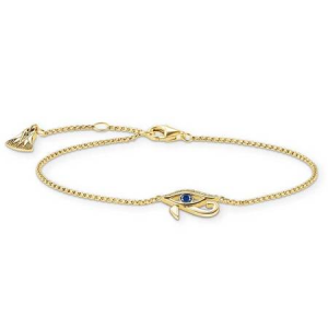 THOMAS SABO GOLD PLATED BLUE STONE EYE OF HORUS BRACELET