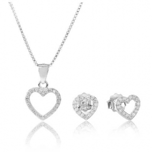 TJH COLLECTION SILVER CUBIC ZIRCONIA OPEN HEART GIFT SET