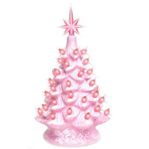 11in Pre-Lit Hand-Painted Ceramic Tabletop Christmas Tree w/ Lights