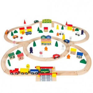 100-Piece Wooden Train Set