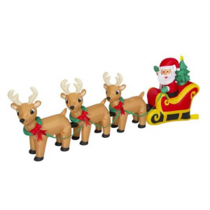 9ft Pre-Lit Inflatable Christmas Santa Claus and Reindeer