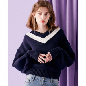 INUSWAY Balloon Sleeve V-neck Knit Top Navy
