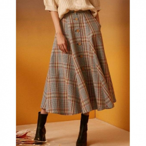 INUSWAY iuw153 Button-check Flare Long Skirt Check
