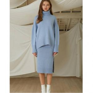 LOOKAST Blue Cahsmere Wool Knit Turtleneck Skirt Two Piece