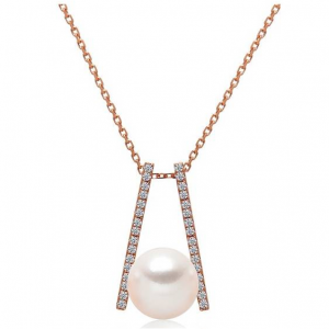 TARA Pearls 14K Rose Gold Pave Diamond & 7-7.5mm Cultured White Pearl Pendant Necklace - 0.11 ctw