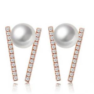 TARA Pearls 14K Rose Gold 5-5.5mm Akoya Cultured Pearl & Diamond Bar Earrings - 0.16 ctw