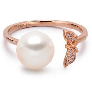 TARA Pearls 14K Rose Gold Diamond Detail Butterfly & Akoya 7.5-8mm Pearl Open Ring