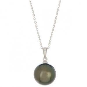 TARA Pearls 14K White Gold 12-13mm Tahitian Cultured Pearl & Diamond Pendant - 0.02 ctw