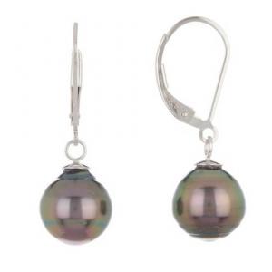 TARA Pearls Sterling Silver 9-10mm Tahitian Cultured Pearl Earrings