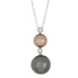 TARA Pearls 14K White Gold 9-12mm Tahitian Cultured Pearl & Diamond Pendant - 0.08 ctw
