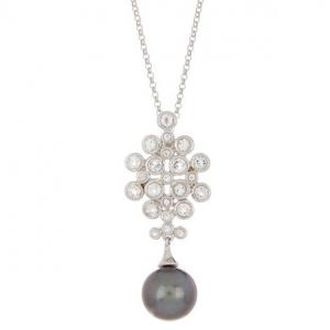 TARA Pearls Sterling Silver 10-11mm Natural Color Tahitian Cultured Pearl & White Topaz Pendant