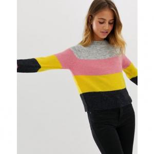 Only Maribel multi stripe jumper in wool blend
