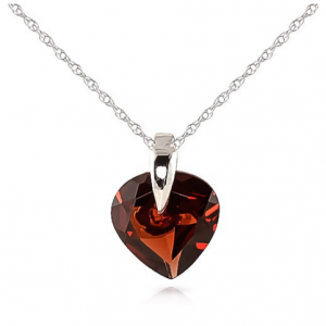 Garnet Heart Pendant Necklace 1.15 ct in 9ct White Gold