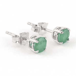 Emerald Stud Earrings 0.95 ctw in 9ct White Gold