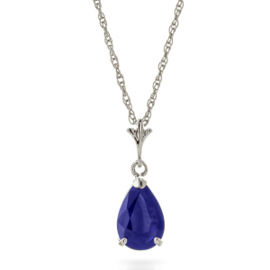Sapphire Belle Pendant Necklace 1.5 ct in 9ct White Gold