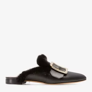 JANESSE WOMEN'S CALF LEATHER BACKLESS MULE SLIPPER IN BLACK