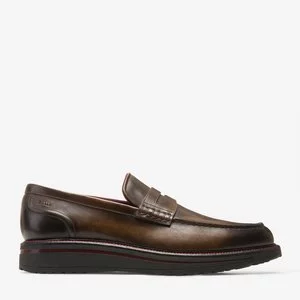 BARDONY MEN'S PLAIN CALF LEATHER PENNY LOAFER IN MID BROWN