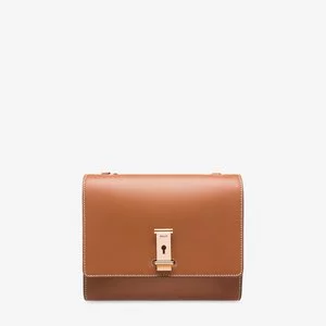 THE KEYHOLE WOMEN'S PLAIN CALF LEATHER CROSSBODY BAG IN TAN