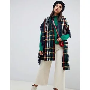 ASOS DESIGN wool woven check scarf with fringed edge