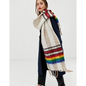 ASOS DESIGN oversized long fluffy check scarf with rainbow border