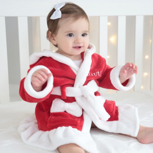 My 1st Years Girls Personalized Red Santa Robe