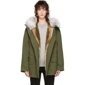 Yves Salomon - Army Green Fur-Lined Classic Short Parka