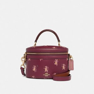Trail Bag With Party Mouse Print DARK BERRY/GOLD