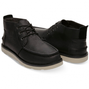 Waterproof Black Leather Men's Chukka Boots