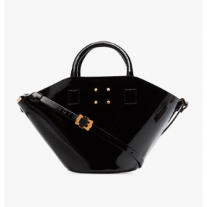 Trademark Black Small Patent Leather Basket Bag