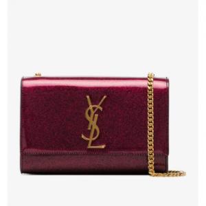 Saint Laurent Pink Patent Glitter Kate Wallet Chain Bag