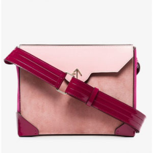 Manu Atelier Pink Bold Leather And Suede Cross-Body Bag