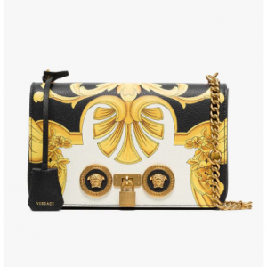Versace Black And Gold Barocco SS'92 Print Leather Chain Strap Shoulder Bag