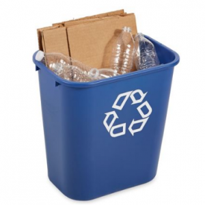7 gal. Desk Recycling Container Rectangular, Blue Plastic