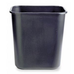 7 gal. Black Rectangular Wastebasket