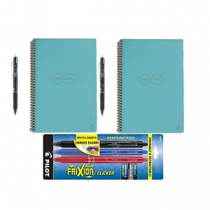 Rocketbook Everlast Reusable Smart Notebook, Letter Size, Light Blue (Pack of 2) with 5 Pilot FriX
