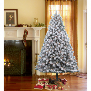 DONNER & BLITZEN 7.5' Pre-Lit Snow Country Flocked Pine Tree with 600 Clear Lights