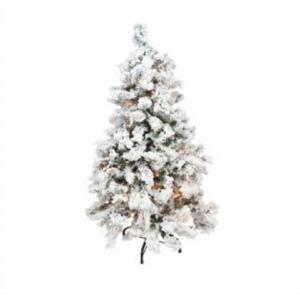 Northlight 4.5' Pre-Lit Flocked Pine Medium Artificial Christmas Tree - Clear Lights