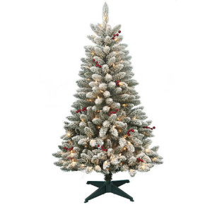 DONNER & BLITZEN 4.5' Pre-Lit Redwood Berry Flocked Pine with 200 Clear Lights