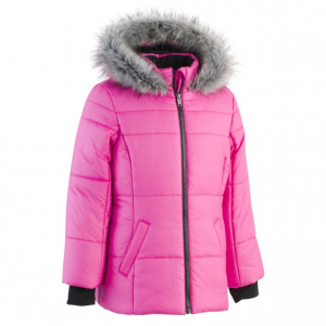 Calvin Klein Collection Girl's Logo Sport Faux Fur Puffer Coat