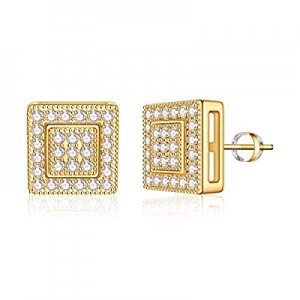 IEFIL Stud Earrings for Girls Women S925 Sterling Silver Post 14k Gold Plated CZ Hypoallergenic Stud Earrings for Women Sensitive Ears Dainty Round Heart Stud Earrings for Girls Baby Kids
